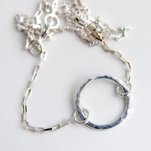 Eternity Necklace Sterling Silver Hammered Circle Necklace