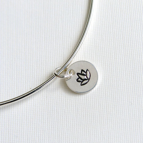 One Sterling Silver Bangle with Lotus Blossom Stamped Charm