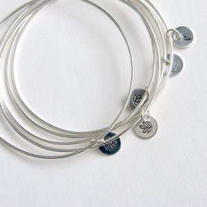 One Sterling Silver Bangle with Leaf Stamped Charm