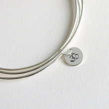 One Sterling Silver Bangle with Ohm Symbol Stamped Charm