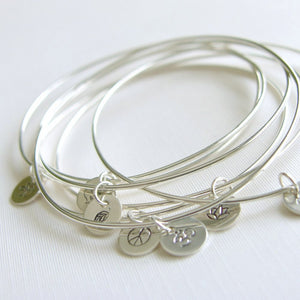 Bangles Sterling Silver with Stamped Charm Set of Seven Bracelets Personalized Jewellery