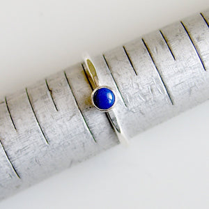 Blue Lapis Lazuli Stacking Ring Sterling Silver Bezel Set Stone