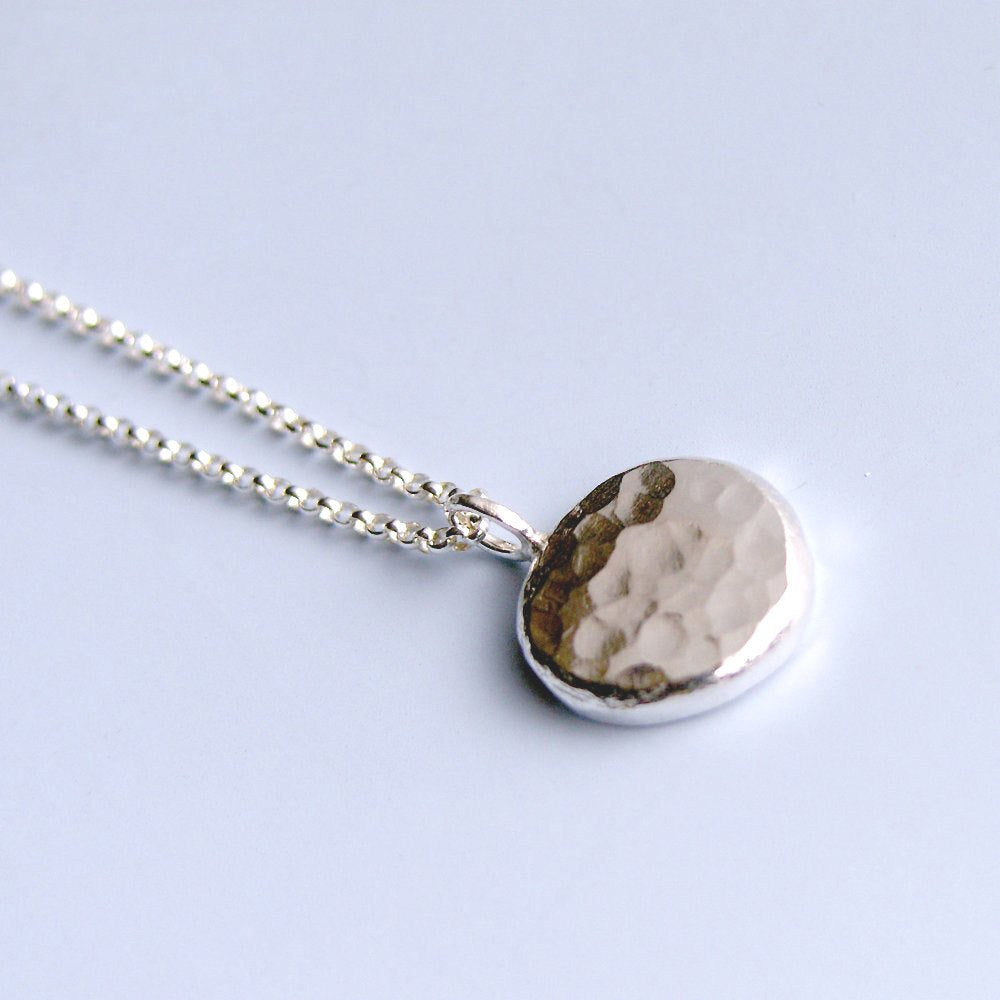 Hammered Circle Necklace Sterling Silver Nugget Pendant
