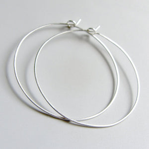 Large Hammered Flat Hoops Sterling Silver Hoop Earrings Various Sizes