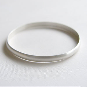 Heavy Bangle Sterling Silver Bracelet Brushed Finish
