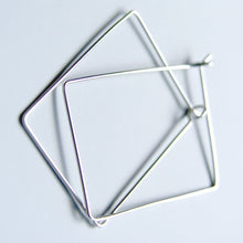 "Rectangle Hoops 1"" x 1.5"" Simple Earrings Sterling Silver Handmade Jewellery"