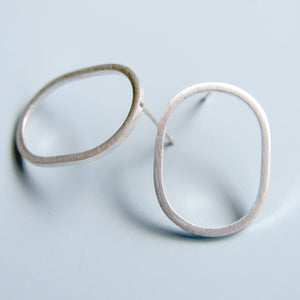Oval Hoop Earrings Sterling Silver Studs Post Earrings Geometric Jewellery