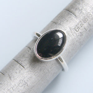 Black Onyx Ring Sterling Silver Ring Bezel Set Oval Stone