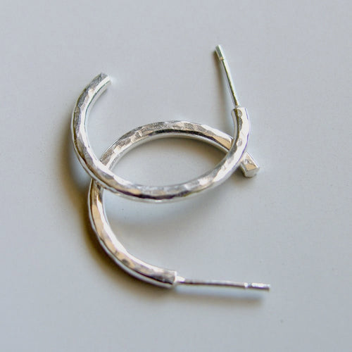 Sterling Silver Hoops 1 inch  25mm Stud Hoop Earrings Hammered Hoops Silver Studs