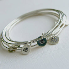 Sterling Silver Bracelets Stamped Charm Set of Three Personalized Stacking Bangles