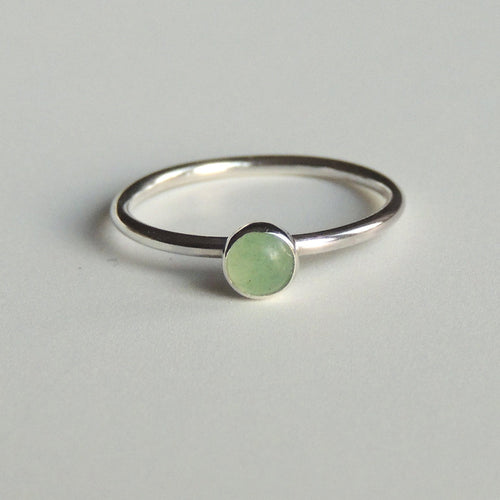Green Aventurine Ring Sterling Silver Stacking Ring Green Stone Ring