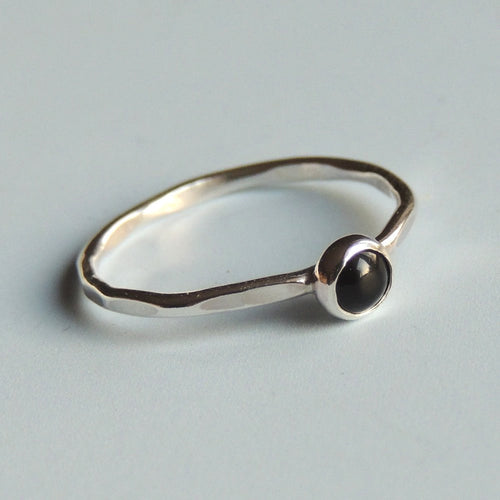 Black Onyx Ring Sterling Silver Stacking Ring Black Stone Ring