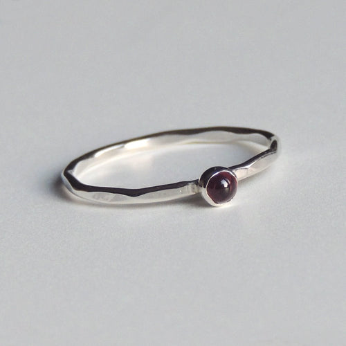 Garnet Ring Sterling Silver Stacking Ring Red Stone Ring