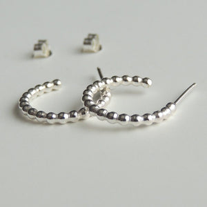 Sterling Silver Hoops Small Stud Earrings Beaded Post Hoop Earrings Silver Studs