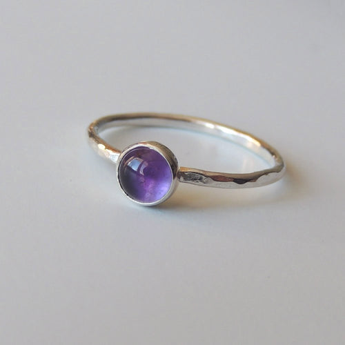Amethyst Ring Sterling Silver Stacking Ring Bezel Set