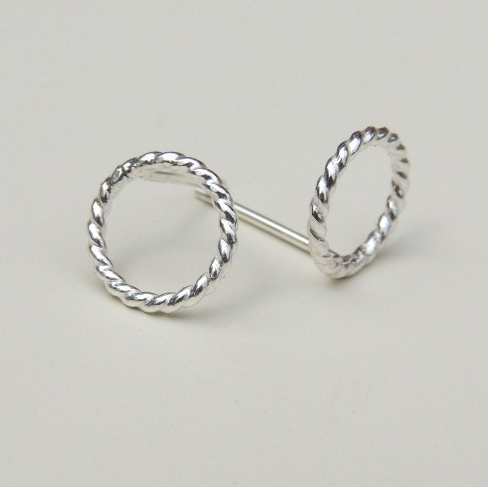 Open Circle Stud Earrings Twisted Sterling Silver Small Post Earrings