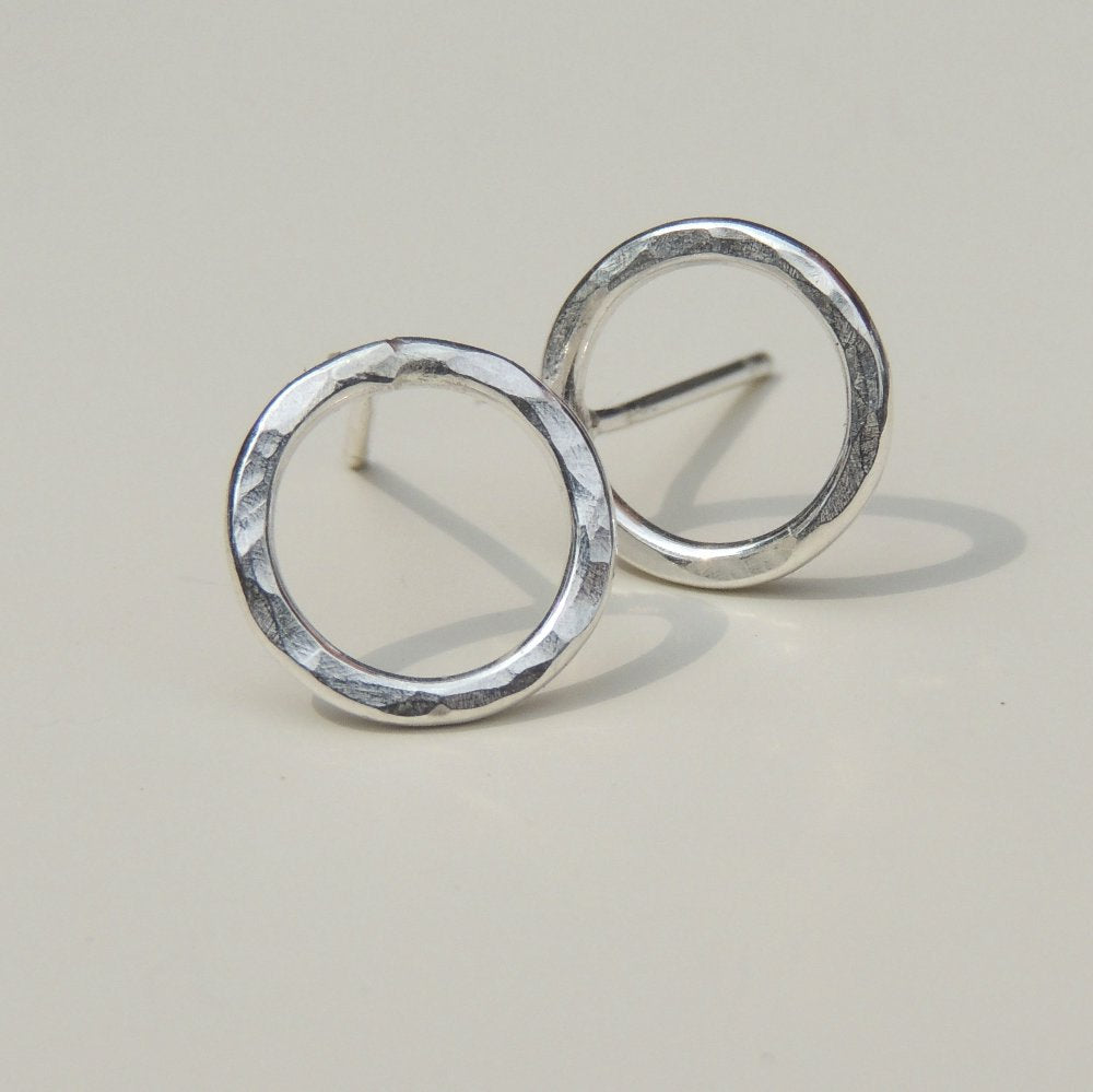 Open Circle Post Earrings Hammered Sterling Silver Small Stud Earrings