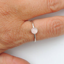 Rose Quartz Ring Sterling Silver Stacking Ring Bezel Set
