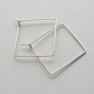 Square Hoops Sterling Silver Square One Inch Hoop Earrings Simple Minimalist Earrings