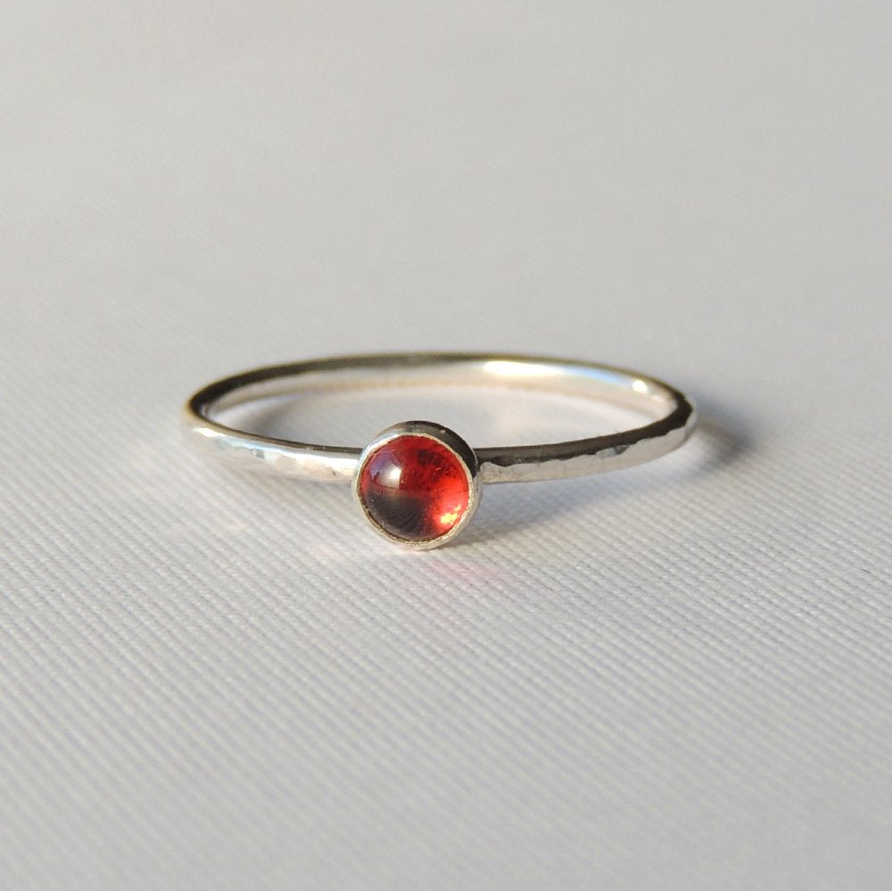 Garnet Ring Sterling Silver Stacking Ring Red Stone Ring Almadine Garnet