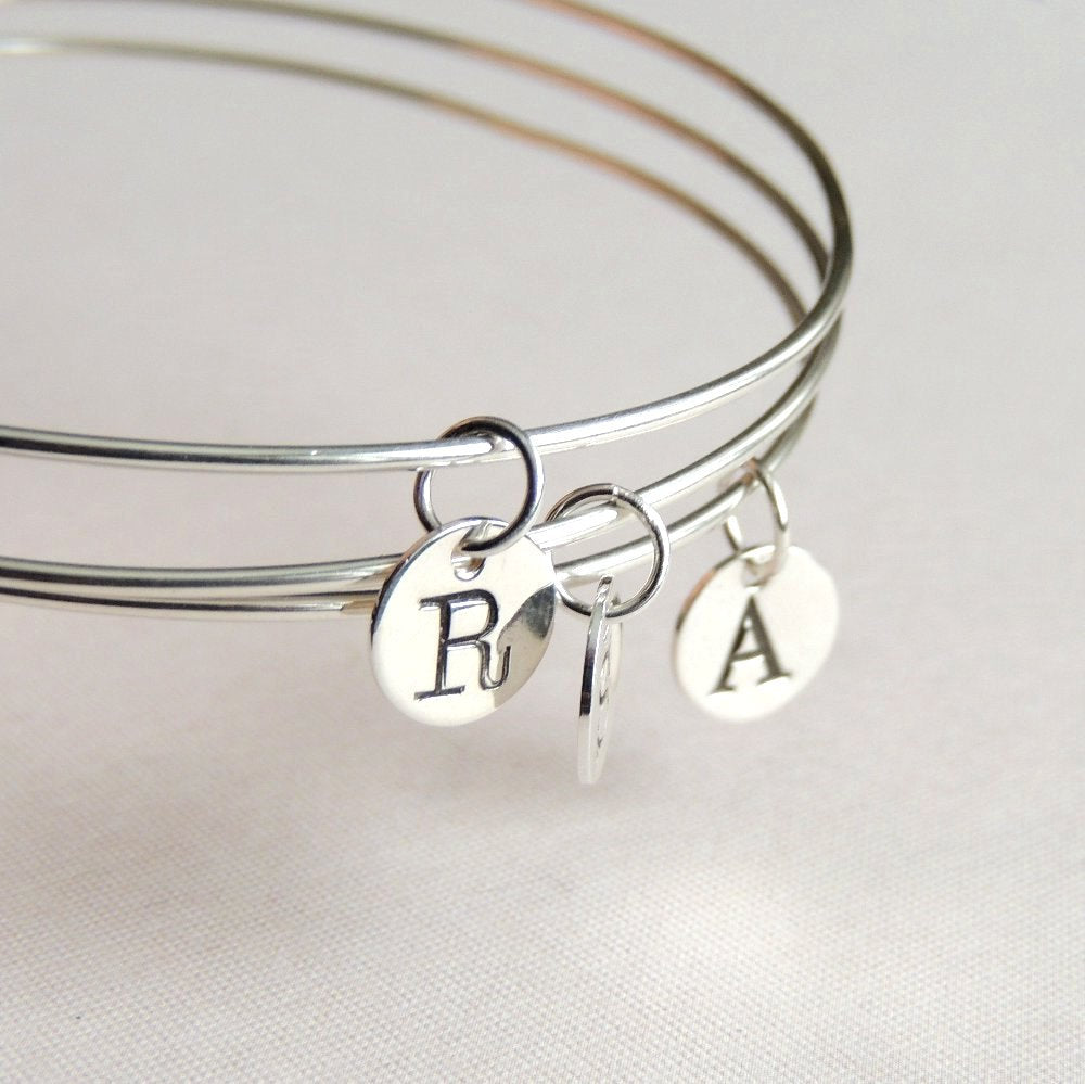 Sterling Silver Bangle with Initial Stamped Charm Letter Personalized Jewellery Bracelet
