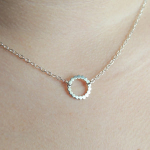 Eternity Necklace Small Sterling Silver Circle Necklace Beaded Silver