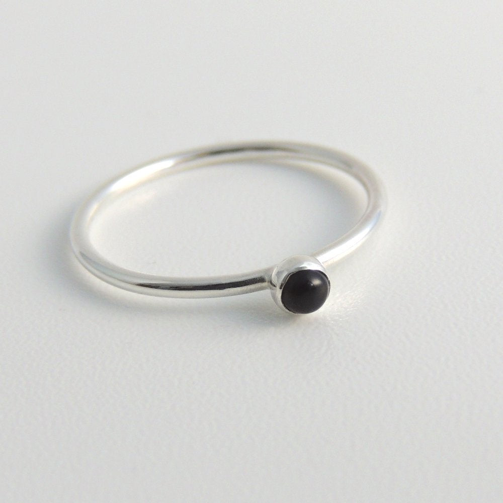 3mm Black Onyx Ring Sterling Silver Stacking Ring Small Black Stone Ring