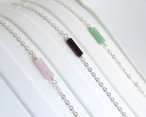 Sterling Silver Cable Chain Bracelet Rose Quartz, Green Aventurine or Black Onyx