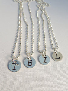 Initial Necklace Sterling Silver Personalized Jewellery Custom Stamped Typewriter Font