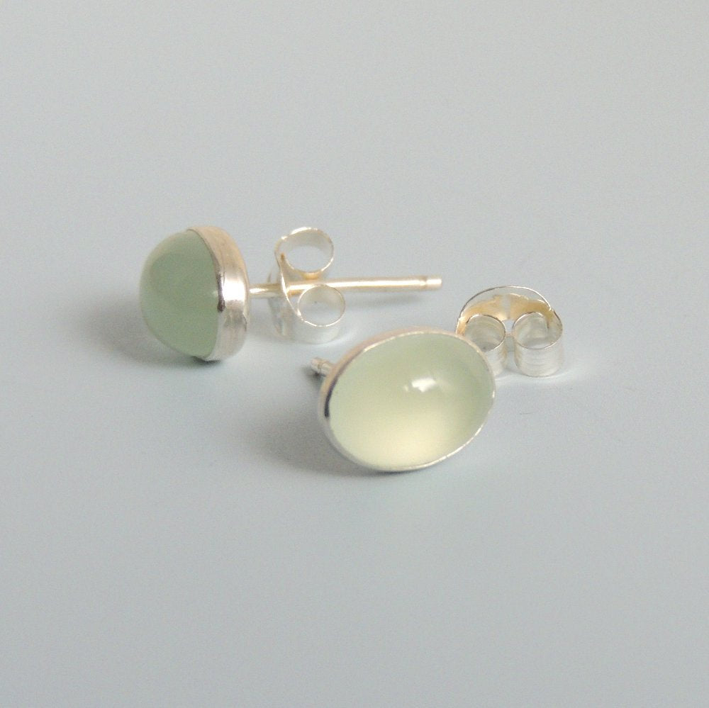 Chalcedony Earrings Oval Stud Earrings Sterling Silver Small Earrings