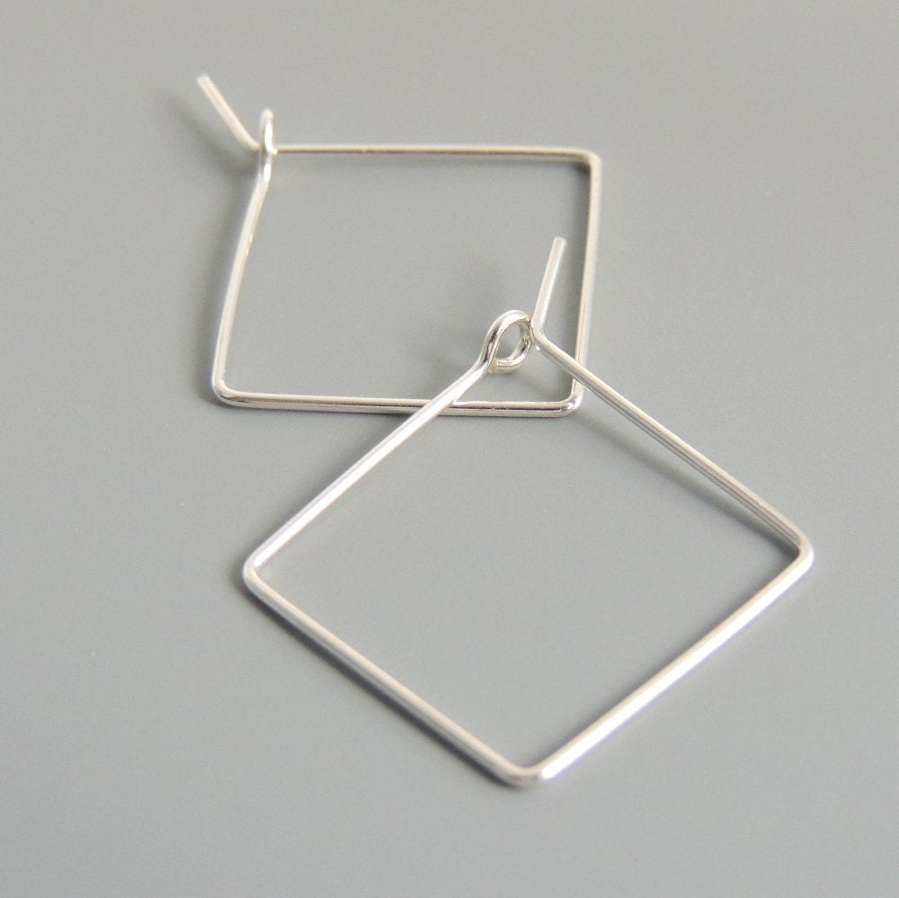 Square Hoops Sterling Silver Square 3/4 Inch Hoop Earrings Simple Minimalist Earrings