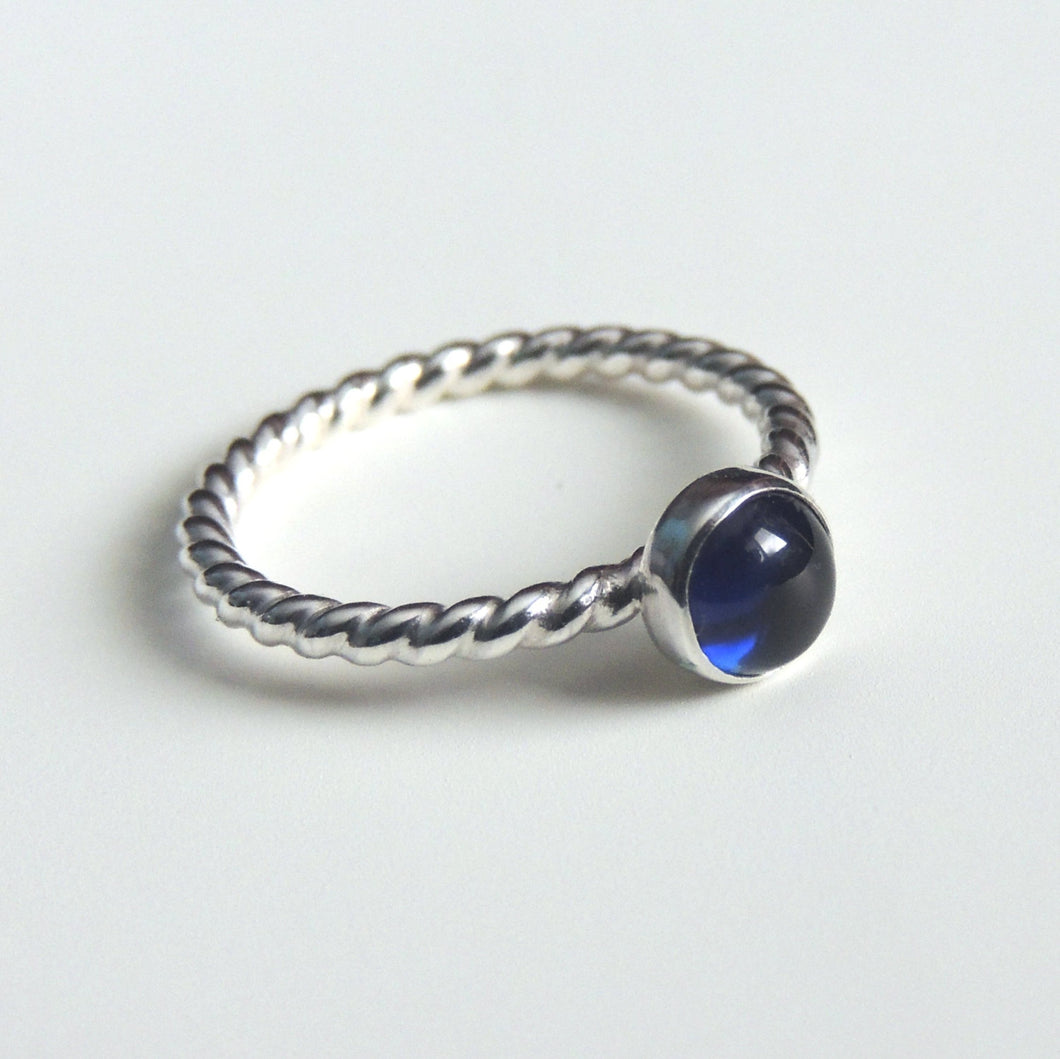 Lab Created Sapphire Ring Sterling Silver Blue Gemstone Solitaire September Birthstone Ring
