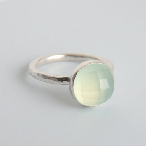 Faceted Chalcedony Ring Sterling Silver Green Gemstone Solitaire