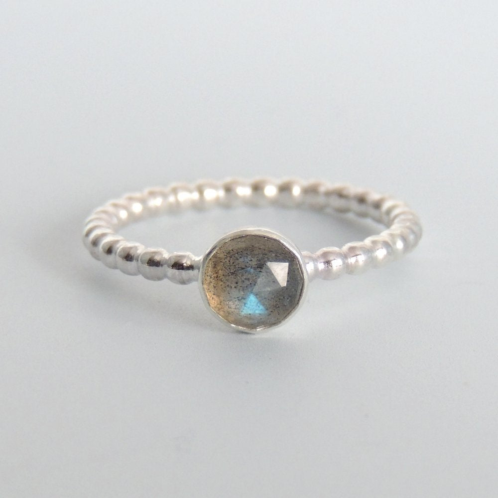 Rose Cut Labradorite Ring Sterling Silver Gemstone Solitaire Ring