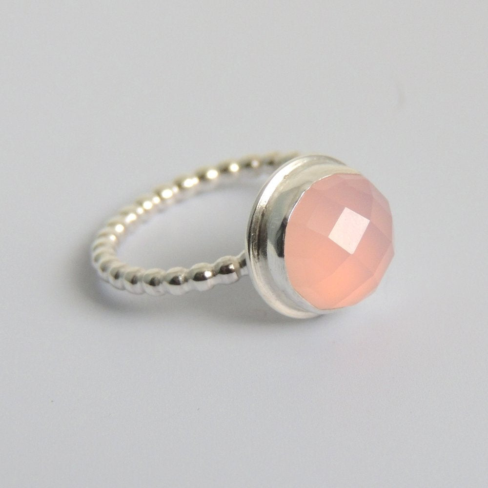 Pink Chalcedony Ring Sterling Silver Checkerboard Cut Faceted Gemstone Solitaire