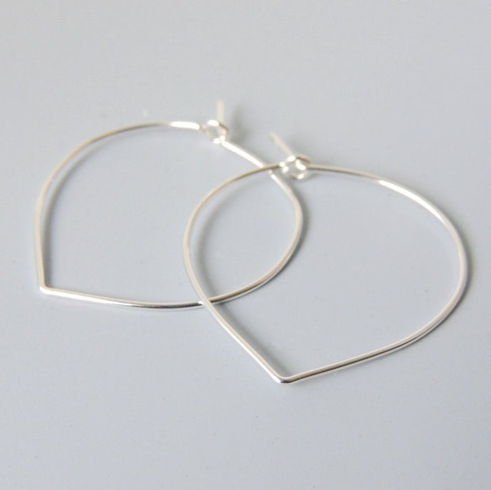 Lotus Petal Hoops Sterling Silver Lightweight Hoop Earrings 1.25