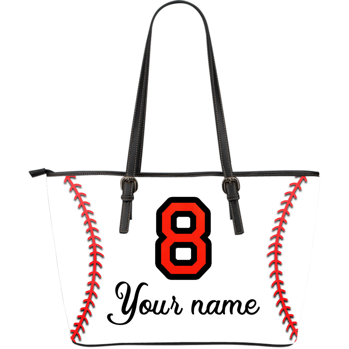 Personalized Number Baseball Large Leather Tote