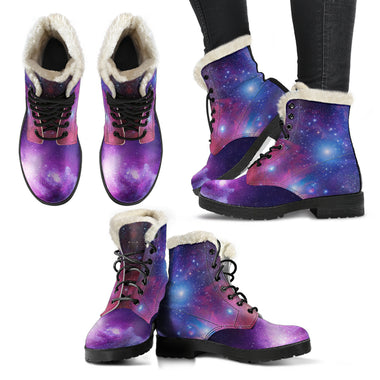 Galaxy Faux Fur Leather Boots