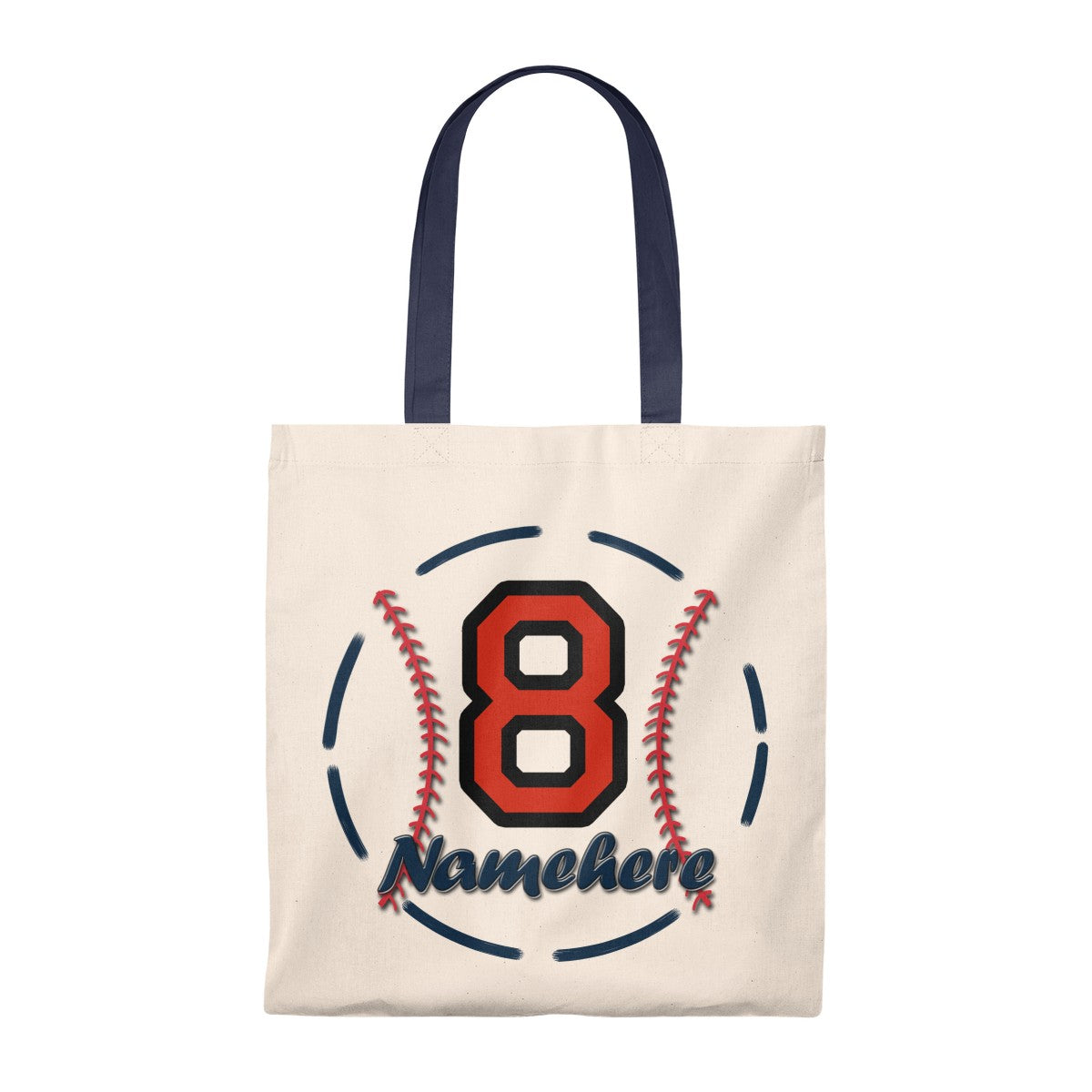 Personalize Name Baseball Tote Bag