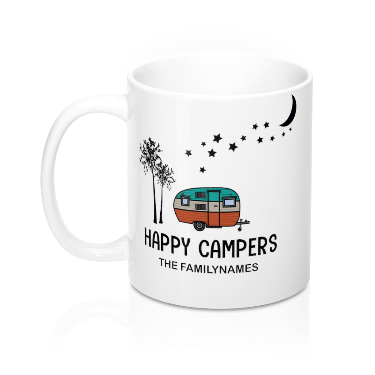 Happy Campers Family Mug with custom family name