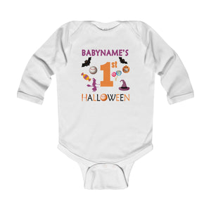 Personalized 1st Halloween Baseball Infant Long Sleeve Bodysuit