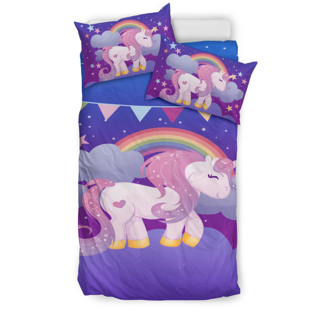 Purple Rainbow Unicorn Bedding