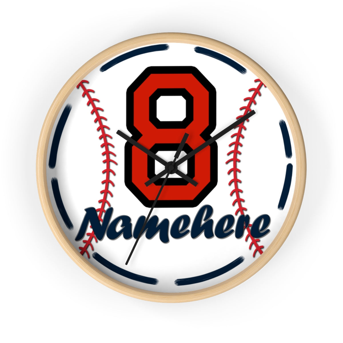 Personalize Name Baseball Wall clock