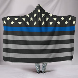 Blue Line Flag Hooded Blanket