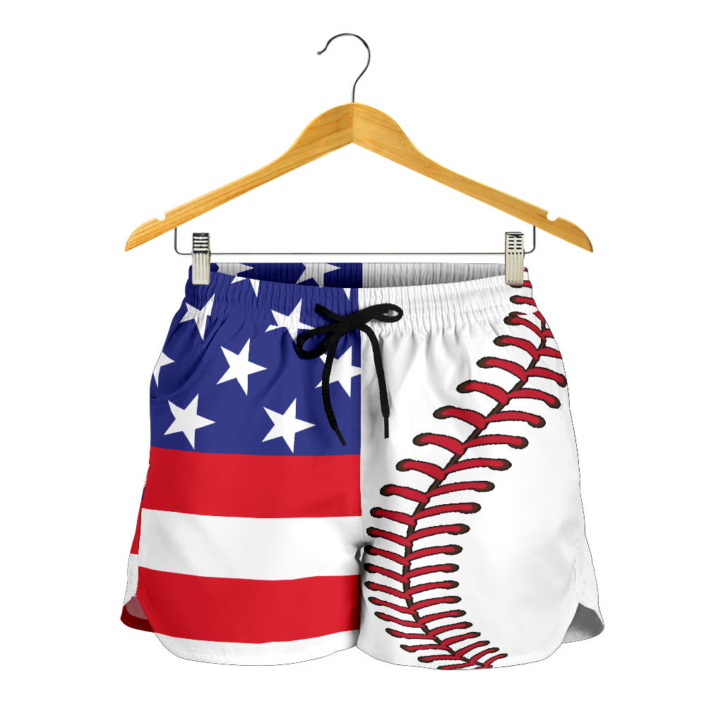 Baseball USA Flag Women Shorts