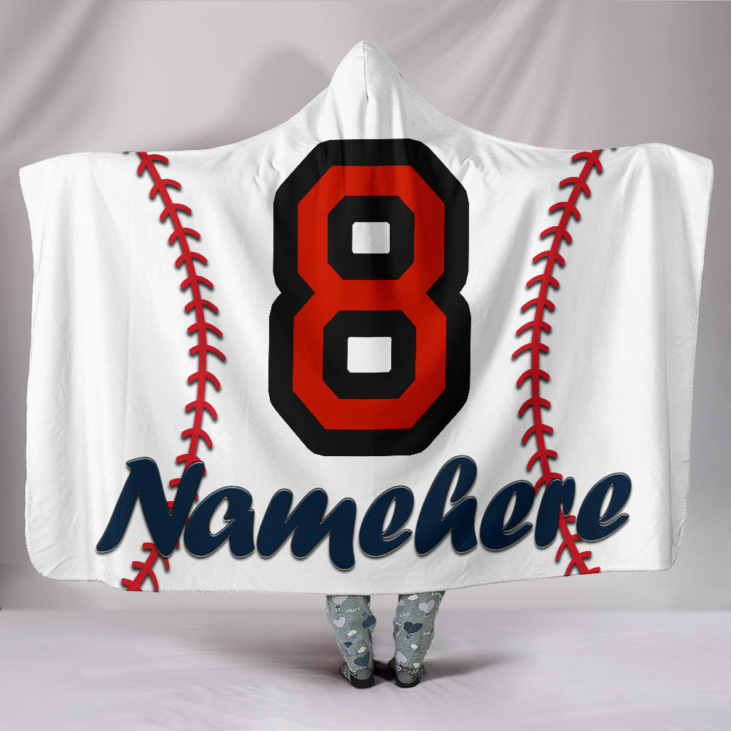 Personalize Name Baseball Hooded Blanket