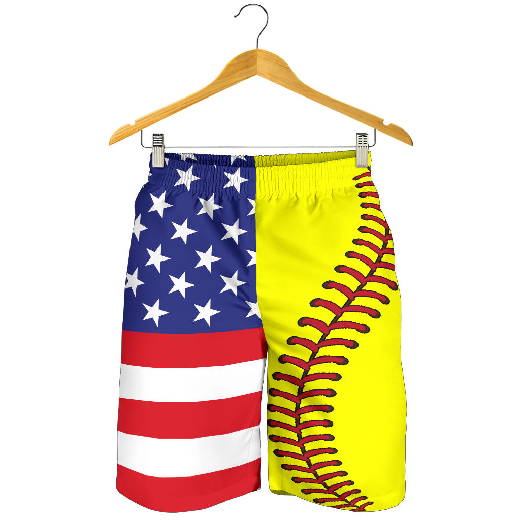 Softball USA Flag Men Shorts