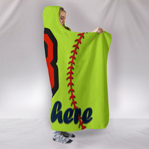 Personalize Name Softball Hooded Blanket