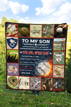 Baseball Son, Love, Mom Quilt