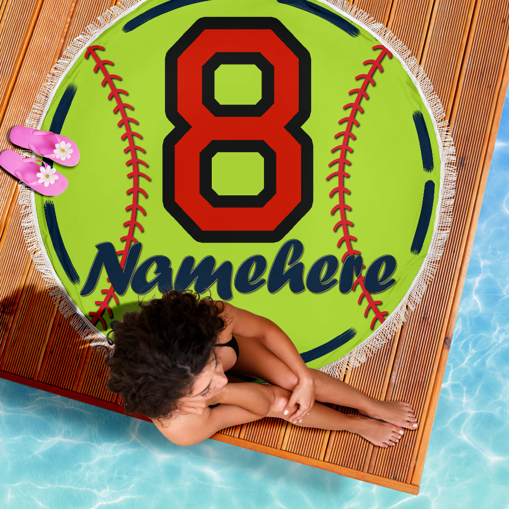 Personalize Name Softball Blanket